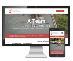A Team Concrete & Construction Website Design Vinnie Mac Digital Marketing Glen Carbon IL